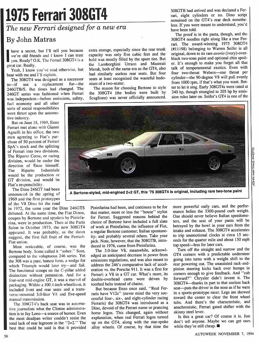 1975 Ferrari Dino 308 Gt4 Wiring Diagram Heres One From Autoweek Featuring